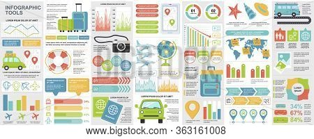 Bundle Travel Infographic Ui, Ux, Kit Elements With Charts, Diagrams, Summer Vacation, Flowchart, Tr