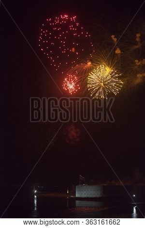 Sevastopol, Crimea, Russia - July 28, 2019: Fireworks On The Day Of The Navy At The Konstantinovsky