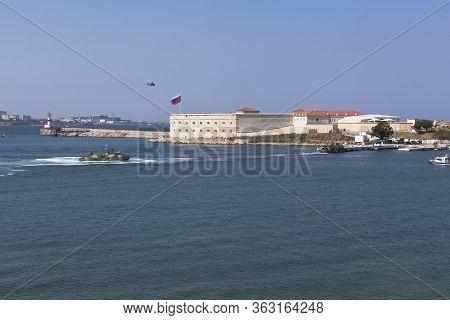 Sevastopol, Crimea, Russia - July 28, 2019: Raptor Landing Boats Moor To The Pier Near The Konstanti