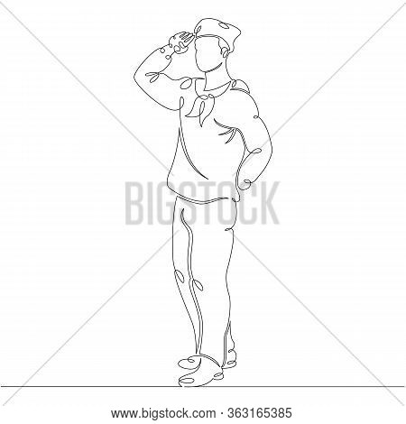 One Continuous Drawing Line Portrait Sailor Seaman In Uniform .single Hand Drawn Art Line Doodle Out