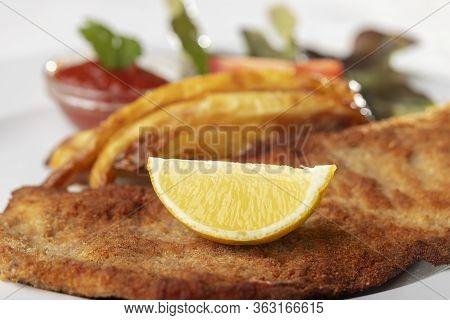 Closeup Of Wiener Schnitzel On A Plate