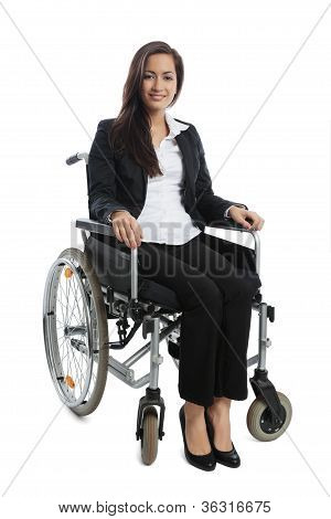 Asian Businesswoman Sitting In A Wheel Chair