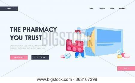 Pharmacy Or Drugstore Landing Page Template. Tiny Pharmacist Female Character Hold Huge Pills Bliste
