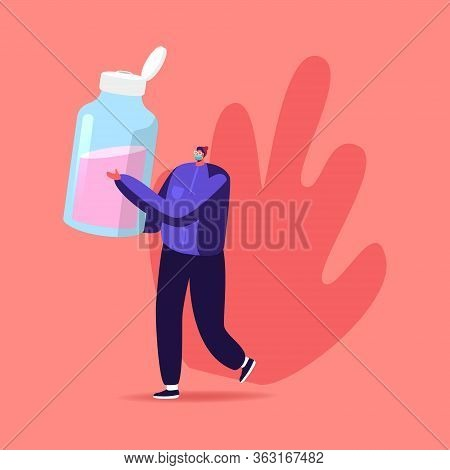Precautionary Hygienic Measures Coronavirus Protection Concept. Man Character Carry Huge Sanitizer,