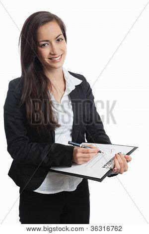 Asian Businesswoman With Checklist Vertical