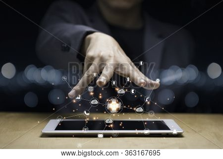 Businessman Hand Create Artificial Intelligence For Technology Transformation And Internet Of Thing