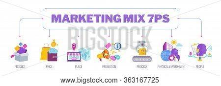 7 Ps Marketing Mix Infographic Flat Vector Illustration Scheme. Strategy And Management. Segmentatio