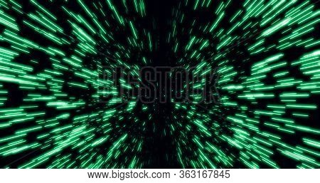 Abstract Hyperspace Of Light Speed And Warp Speed In Green  Star Trail