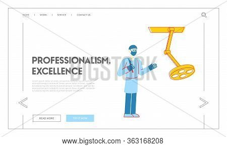 Staff With Medical Tool, Health Care Landing Page Template. Surgeon Character With Scalpel Prepare T