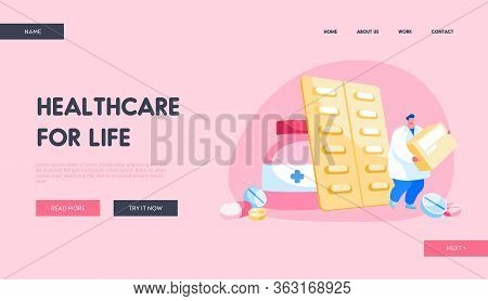 Health Care And Medicine Drugs Industry Landing Page Template. Tiny Pharmacist Male Character Hold H