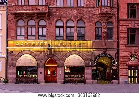 Malmö, Sweden - May 20, 2019: The Facade Of A Historic Building That Houses An Old Pharmacy Still In