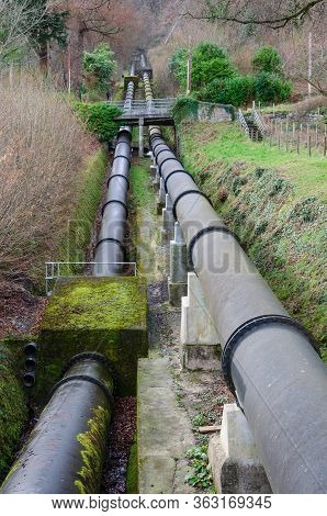 Dual Pipeline On The Hillside, Which Feeds Water To The Hydro Electric Power Station In Dolgarrog, N