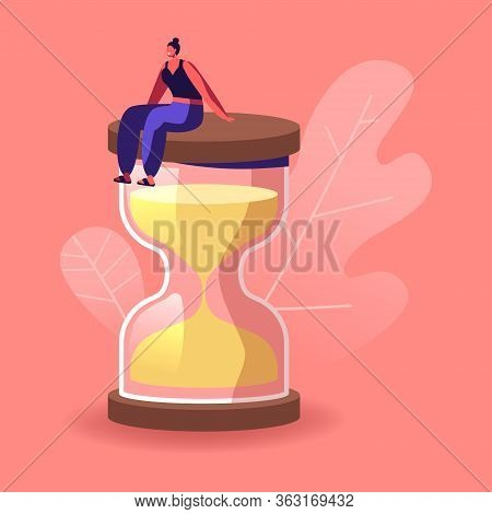 Female Character In Escape Room Conundrum. Woman Sit On Huge Hourglass, Time Management, Work Planni