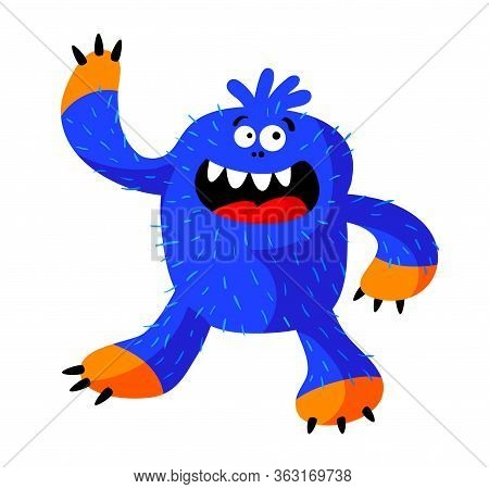 Cute Roaring Monster With Funny Face, Fangs, Blue Hairy Body And Claws. Alien Or Big Foot With Long