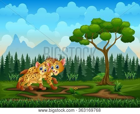 Cartoon Adult Hyena And Cub Hyena In The Field