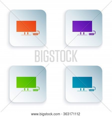 Color Smart Tv Icon Isolated On White Background. Television Sign. Set Colorful Icons In Square Butt