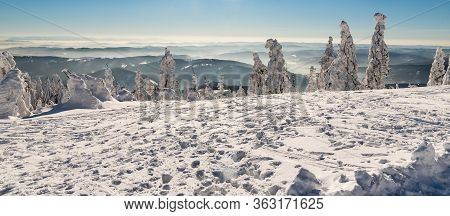View From Lysa Hora Hill In Winter Moravskoslezske Beskydy Mountains In Czech Republic With Many Hil