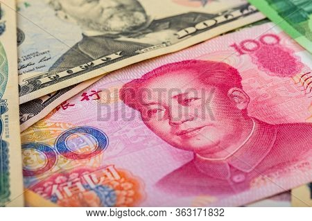 Close-up Portrait Of China 1st Chairman Mao Zedong On Chinese Bank Note Rmb Yuan.