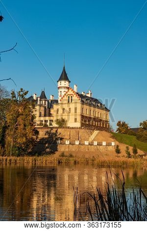 Reneissance Chateau Radun With Pond Near Opava Town In Czech Republic During Beautiful Autumn Day