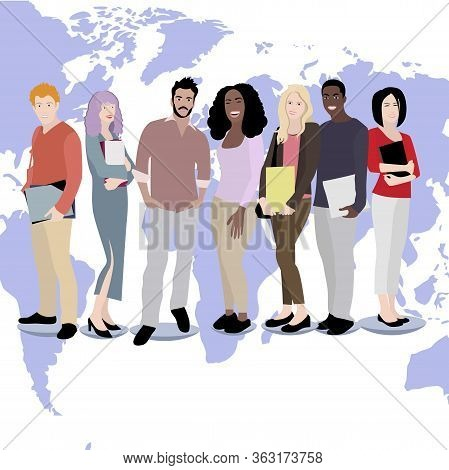 International Students Boy And Girl On World Map Background. Multicultural People Greeting And Welco