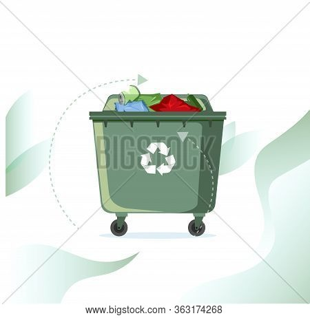 Rubbish Street Bin Full With Recycle Symbol. Vector Container Waste, Ecology Recycle Rubbish, Garbag