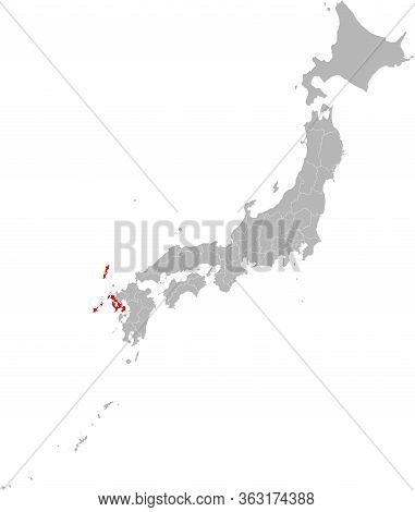 Nagasaki Province Highlighted Red On Japan Map. Gray Background. Perfect For Business Concepts, Back