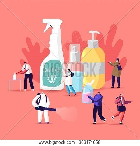 Coronavirus Prevention Measures Concept Tiny Characters Wash Hands With Antibacterial Soap And Sanit