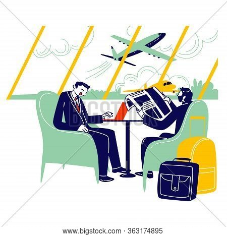Couple Of Businessmen Characters Sitting At Airport Business Lounge Wait For Flight. Men Sitting On