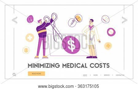Medical Price, Medicine Services And Health Care Cost And Expenses Landing Page Template. Male Patie