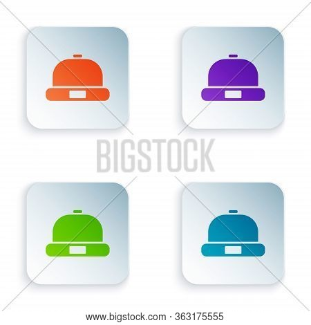 Color Beanie Hat Icon Isolated On White Background. Set Colorful Icons In Square Buttons. Vector Ill