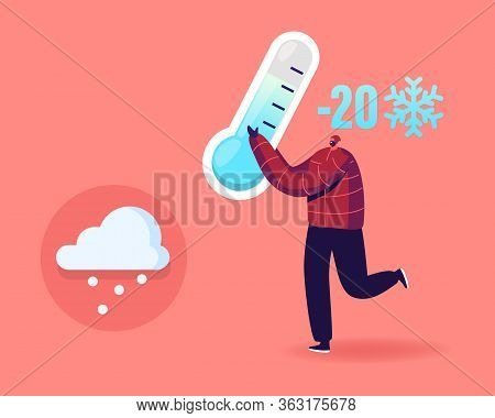 Freezing Springtime. Happy Cheerful Man Character Holding Huge Thermometer Show Minus Twenty Degrees