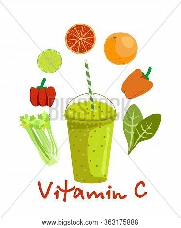 Fruits And Vegetables Containing Vitamin C. Vitamin C Food Source Vector Illustration. Foods Contain
