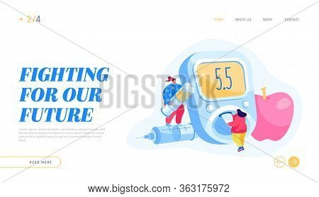 Diabetes Patient Treatment Landing Page Template. Tiny People Characters Sugar Level In Blood Checku