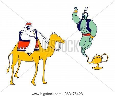 Arabian Fairytale, Fantasy Story Telling Concept. Arabic Merchant Or Drover Isolated Character Ridin