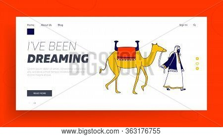 Storytelling, Arabic Travel Page Template. Male Character Wearing Arab Dressing Leading Camel. Perso