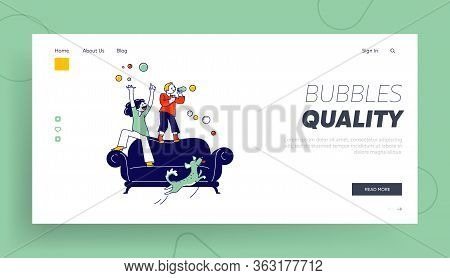 Kids Blow Soap Bubbles Landing Page Template. Children Characters Little Girl, Boy And Dog Playing A