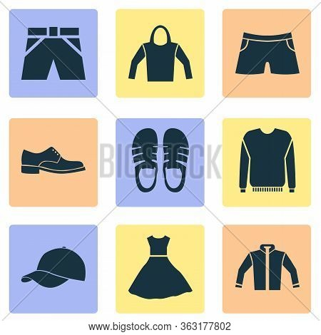 Clothes Icons Set With Pullover, Male Footwear, Jacket And Other Sweatshirt Elements. Isolated Illus