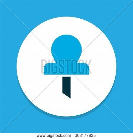 Pin Icon Colored Symbol. Premium Quality Isolated Pushpin Element In Trendy Style.