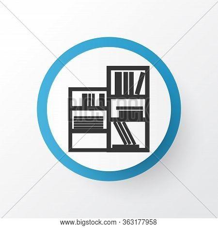 Shelving Unit Icon Symbol. Premium Quality Isolated Book Shelf Element In Trendy Style.