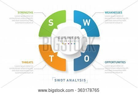 Swot Diagram For Business, Modern Style With Strengths, Weakness, Opportunities, And Threats. Presen