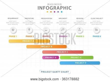 Infographic Template For Business. 6 Steps Modern Timeline Diagram Calendar With Grantt Chart, Prese