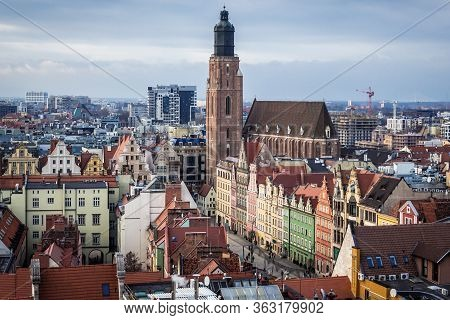 Wroclaw, Poland - December 2, 2019: Aerial View From So Called Witches Bridge Of Saint Mary Magdalen