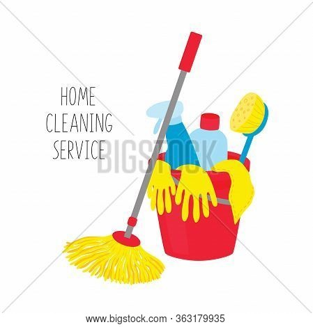 Cleaning Service. House Cleaning Tools In Bucket On White Background.