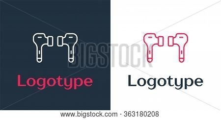 Logotype Line Air Headphones Icon Icon Isolated On White Background. Holder Wireless In Case Earphon