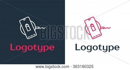Logotype Line Smartphone Charging On Wireless Charger Icon Isolated On White Background. Charging Ba