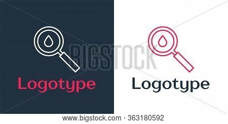 Logotype Line Oil Drop Icon Isolated On White Background. Geological Exploration, Geology Research.