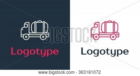 Logotype Line Tanker Truck Icon Isolated On White Background. Petroleum Tanker, Petrol Truck, Cister
