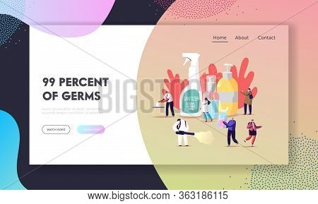 Coronavirus Prevention Measures Landing Page Template. Tiny Characters Wash Hands With Antibacterial