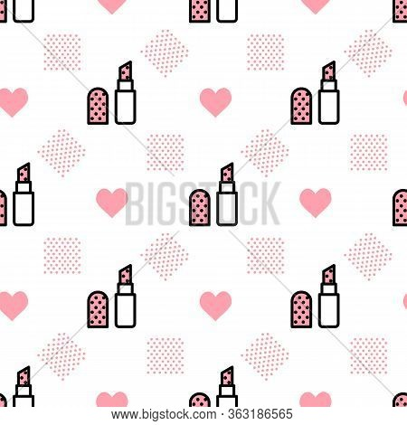 Vector Makeup Background With Open Lipstick Flat Linear Style On A White Background. Glamour Fashion