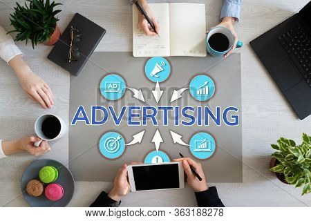 Advertising Marketing Strategy Development Business Peoples Working In Office.